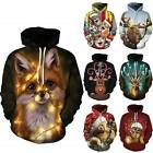 Christmas Sweatshirt Adult 3D Animals Print Pullover Hoodies Xmas Jumper Tops