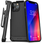 Iphone 12 Pro Max Belt Clip Case (thin Armor) Slim Grip Cover W/ Holster - Black