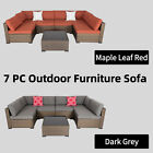 7pc Outdoor Patio Furniture Sofa Set Pe Rattan Cushioned Couch Deck Porch Garden