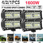 "4/2x 7"" 800W LED Work Light Bar Flood Spot Combo Fog Lamp Offroad Driving Truck"
