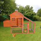 Large Chicken Coop Hen Hutch Poultry House with Running Cage Ramp Tray Backyard