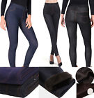 Womens Winter Stretch Denim Thermal Fleece Lined Jeans Leggings Pant Jeggings