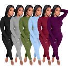 Women Long Sleeves Solid Color Casual Club Party Long Pants Set Two Piece