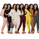 Women Fashion Round Neck Long Sleeve Solid Color Winter Casual Outfits 2pcs