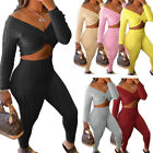 Women's Long Sleeve Knotted Top Long Pants Solid Color Sweater Outfits 2pcs
