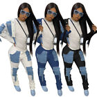 Women Fashion Long Sleeve Buttons Patchwork Pockets Stacked Denim Outfits 2pcs