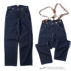 New Men's Retro Striped Pants Denim Overalls Cargo Loose Trousers Wide-leg Jeans
