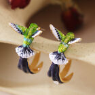 Flying Hummingbird Earrings Stud Threader Drop Painting Oil Dangle Hot US