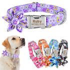 Personalized Dog Collar Flower Nylon Adjustable Free Engraved Buckle Name S-XL