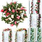 Artificial Rose Garland Plants Hanging Flowers Trailing Vine Home Wedding Decors