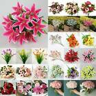 Artificial Lilies Peony Fake Peach Flowers Bouquet Wedding Home Yard Decorations