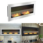 90/120cm Bio Ethanol Fireplace Biofire Wide Glass 2/3 Burners Fire Place Heaters