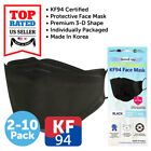 KF94 BLACK Face Protective Mask Made in Korea KFDA Approved Adult Size 4 Layers