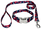 Country Brook Petz® Premium Navy Blue and Red Camo Dog Collar and Leash