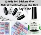 Nail Foil Transfer Adhesive Nail Art Glue For Foil Stickers+10Rolls Foil Sticker