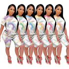 Fashion Women's Tie-dyed Print Short Sleeve T-shirt Short Pants Casual Outfits