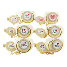 Baby Infant Pacifier with Clips Chain Baby Nipple Golden Bling Baby Pacifier