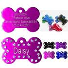 Personalised Dog Tags Engraved Pet Puppy Cat Name ID Tag Bling Bone 5 Colors