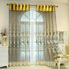 European Floral Embroidery Tulle Curtain Valance Window Drape Panel Eyelets Home