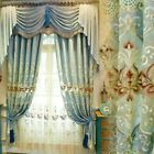 Hollow Embroidery Curtains Chenille Blackout for Living Room Window Drapery Blue