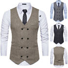 Mens Double Breasted Blazer Suit Waistcoat Vest Formal Office Wedding Party Coat