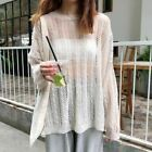 Women Spring Sweater O-neck Hollow Out Transparent Female Fashion Korean Style L