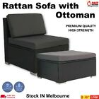 Outdoor Furniture Patio Rattan Middle Sofa & Ottoman Wicker Lounge Garden  Set