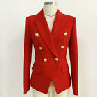 2021 Women's Luxury Designer Inspired Fitted Blazer Golden Buttons Coat Red