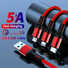 1.2M Braided 3-in-1 5A Fast Charging Charger Data Cable For Micro USB...
