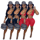 Summer Women Sleeveless Solid Color Bodycon Club Party Casual Short Pant Set 2pc