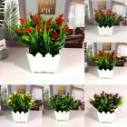 Artificial Fake Flowers Realistic Plants Outdoor Home Garden Decor With Pot