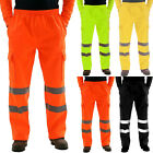 Men High Visibility Cargo Pants Reflective Tape Joggers Trousers Safety Workwear