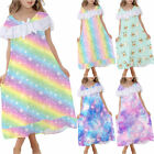 Girls Kids Nightie Printed Nightdress Princess Pyjamas Summer Sleepwear Dress