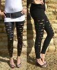 Top Quality Ripped Slashed Leggings BLACK  Size 8-28  Halloween