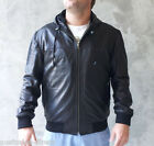Mens Black Leather Hoodie Hooded Jacket Soft Supple A Grade Sheep Hide Finn Moto