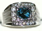 Men's London Blue Topaz Platinum Overlay Ring   R4