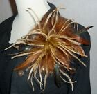 Ostrich Marabou Layered Feather Brooch Pin Hair Clip