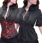 Sexy Trendy Outfit Black Ruffles Blouse Top Shirt- S-XL
