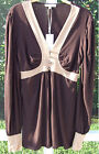 VERTIGO PARIS COCO BROWN TOAST LONG SLEEVE TUNIC HAND WASH BLOUSE SHIRT TOP NEW