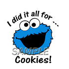 SESAME STREET COOKIE MONSTER IRON ON TRANSFER 3 DESIGNS