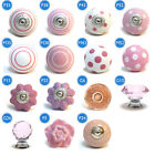 Pushka Knobs Pink Ceramic Glass Crystal Flower Spots Striped cupboard Knobs