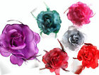 HAIR CLIP CORSAGE Fabric Rose Hair Flower Clip Corsage Pin Colour Choice