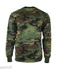 T Shirt Long Sleeve Woodland Camouflage Army Camo Tee