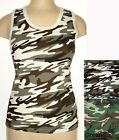 ARMY CAMOUFLAGE RIBBED COTTON CAMISOLE TANK TOP sz S-2X