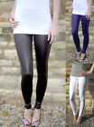 Ankle Length WET LOOK Shiny Stretch LEGGINGS Pants Black Size 6 8 10 12 14 16 18