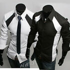 6036 Mens Casual Slim Patched Dress Shirts US S,M,L,XL