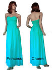 SZ 10 12 14 Aqua Blue Bridesmaids Evening Dress Chiffon
