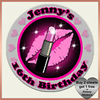Personalised Birthday LIPSTICK Stickers - 13th 16th 18th 21st Hen Party Bag Fun