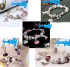 Silver Finished Bracelet W Crystal Heart 17-19 Charms Fashion For Womens Girls