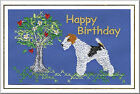 Wire Haired Fox Terrier Birthday Card Embroidered by Dogmania